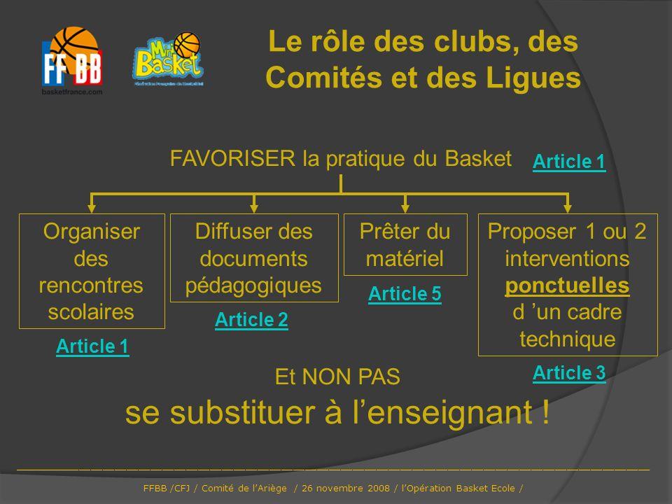 Le rôle des clubs, des Comités et des Ligues