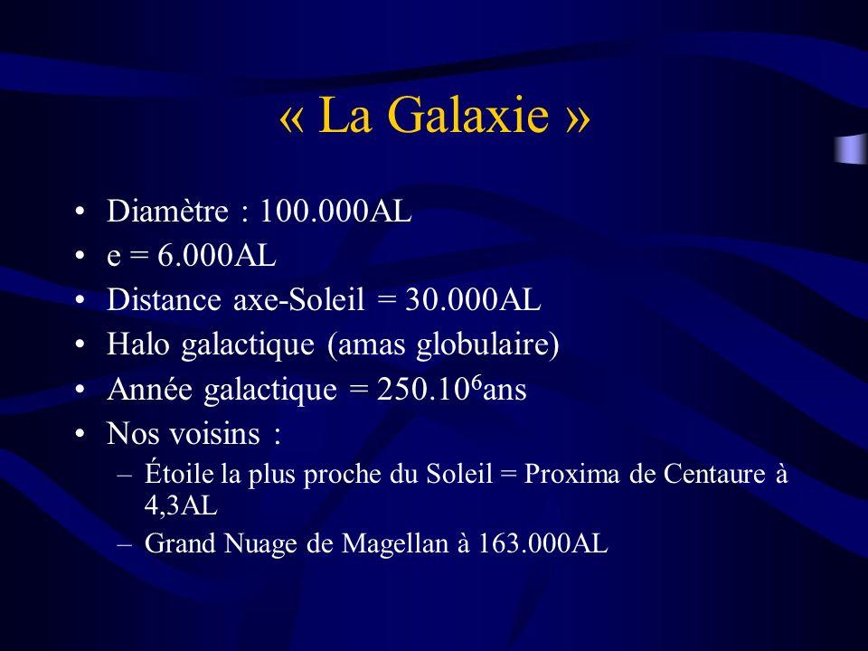 « La Galaxie » Diamètre : 100.000AL e = 6.000AL