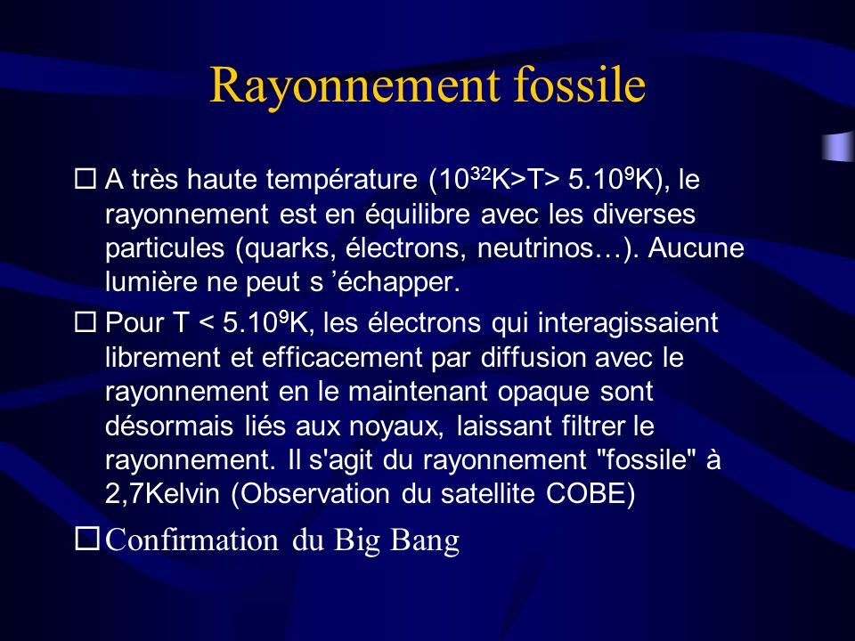 Rayonnement fossile Confirmation du Big Bang