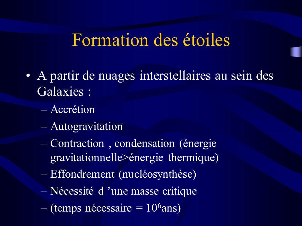 Formation des étoiles A partir de nuages interstellaires au sein des Galaxies : Accrétion. Autogravitation.