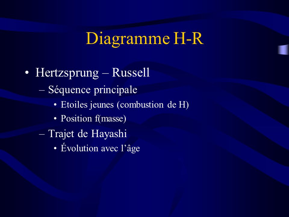 Diagramme H-R Hertzsprung – Russell Séquence principale
