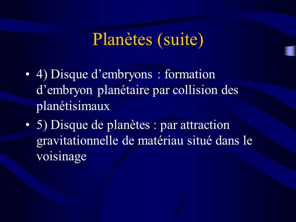 Planètes (suite) 4) Disque d'embryons : formation d'embryon planétaire par collision des planétisimaux.