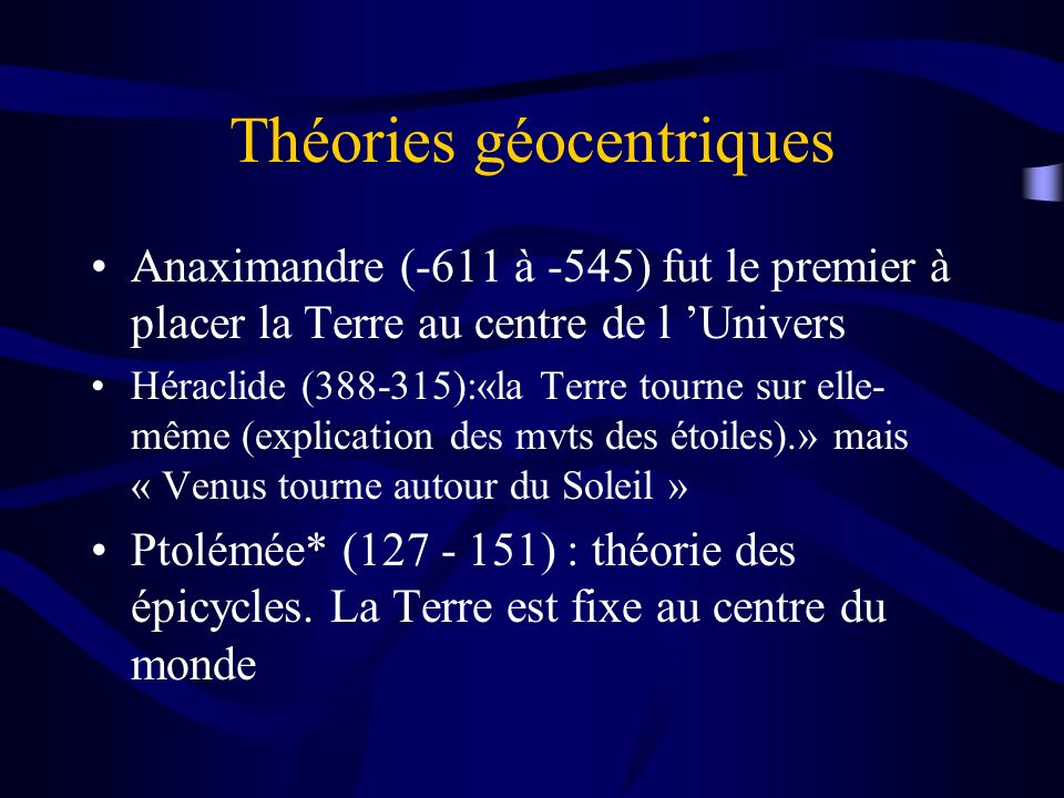 Théories géocentriques