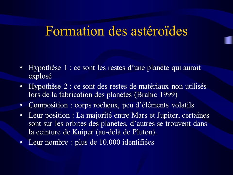 Formation des astéroïdes