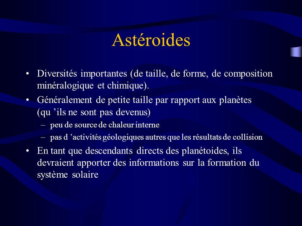 Astéroides Diversités importantes (de taille, de forme, de composition minéralogique et chimique).