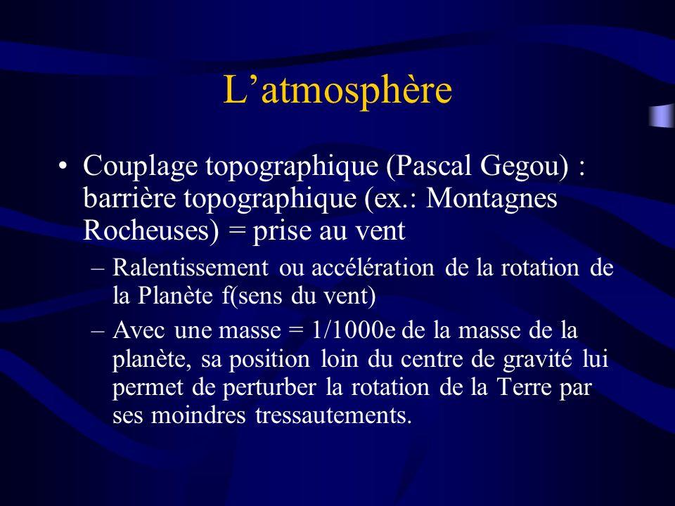 L'atmosphère Couplage topographique (Pascal Gegou) : barrière topographique (ex.: Montagnes Rocheuses) = prise au vent.