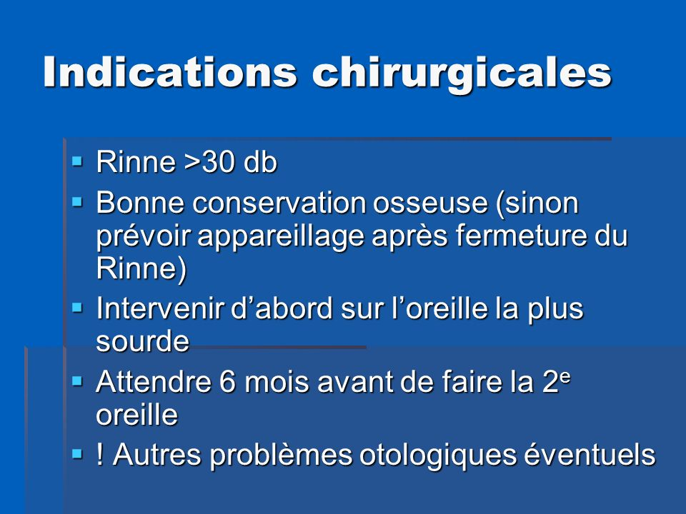 Indications chirurgicales