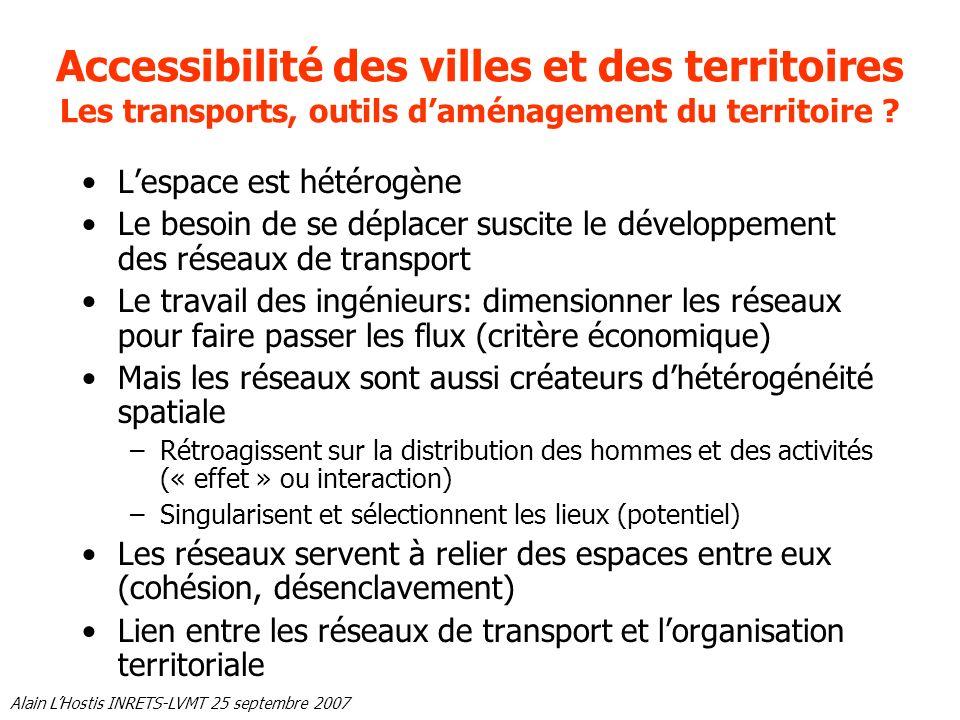 Accessibilité des villes et des territoires Les transports, outils d'aménagement du territoire