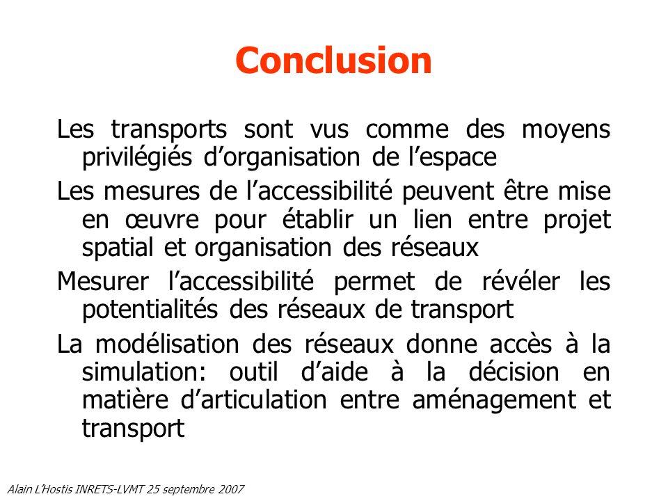 Conclusion Les transports sont vus comme des moyens privilégiés d'organisation de l'espace.