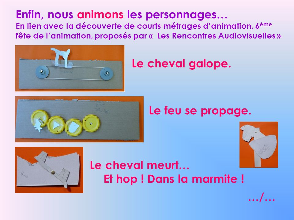 Enfin, nous animons les personnages… En lien avec la découverte de courts métrages d'animation, 6ème fête de l'animation, proposés par « Les Rencontres Audiovisuelles »