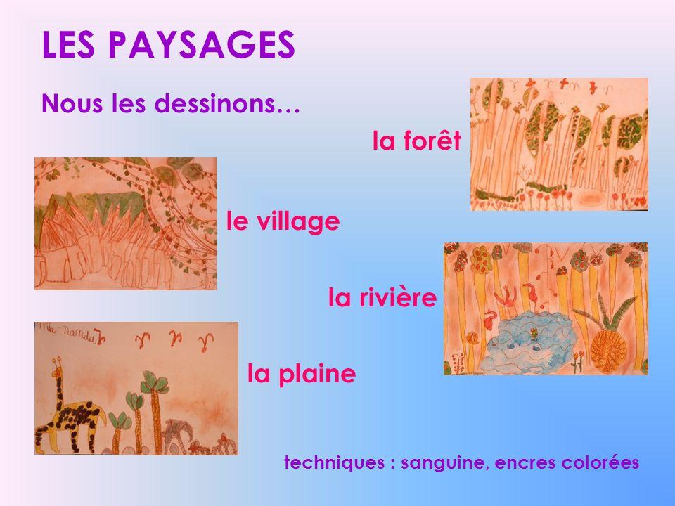 LES PAYSAGES le village Nous les dessinons… la forêt la rivière