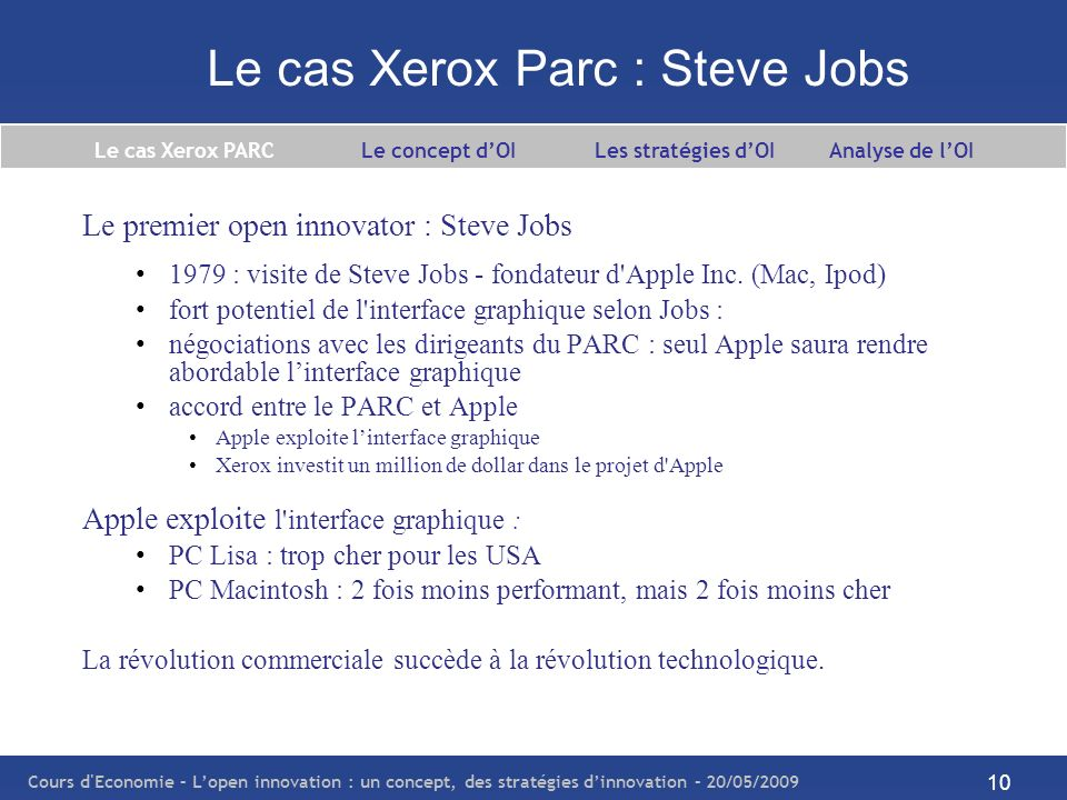 Le cas Xerox Parc : Steve Jobs