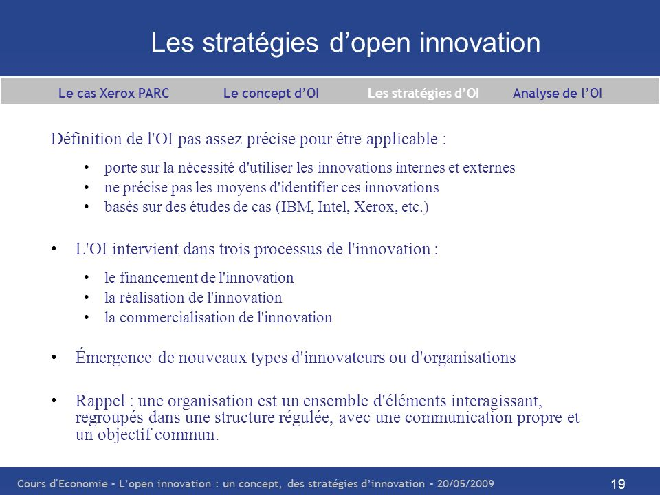 Les stratégies d'open innovation
