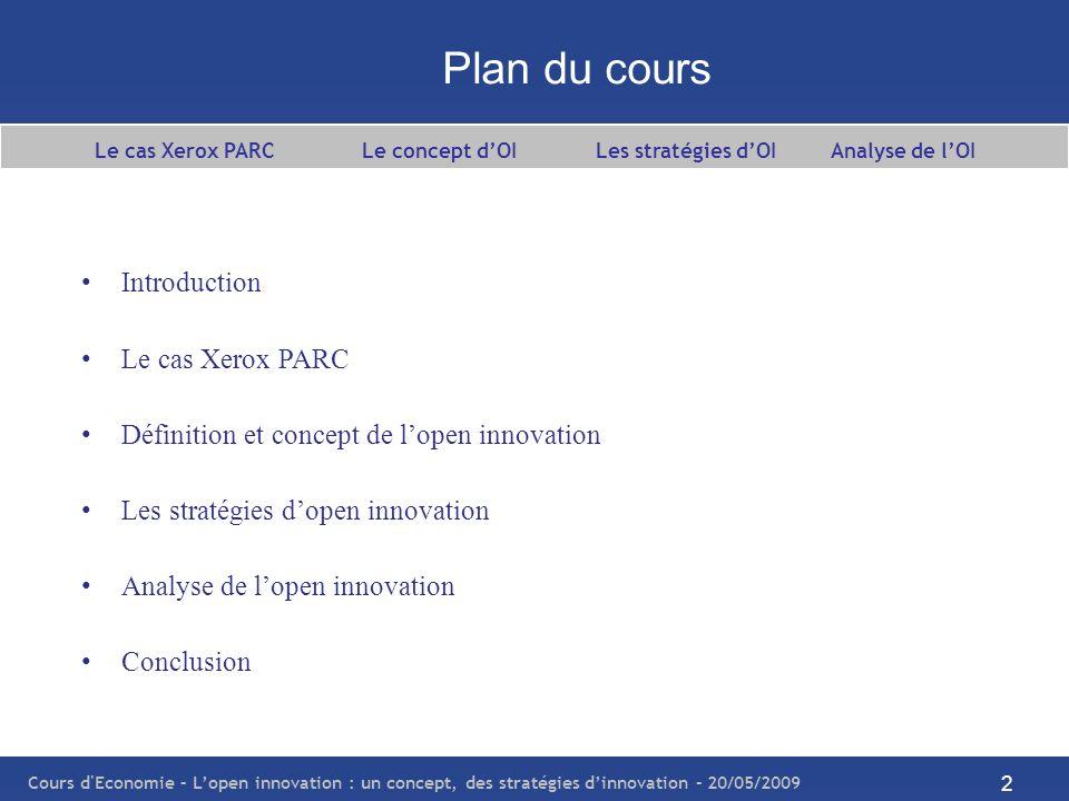 Le cas Xerox PARC Le concept d'OI Les stratégies d'OI Analyse de l'OI