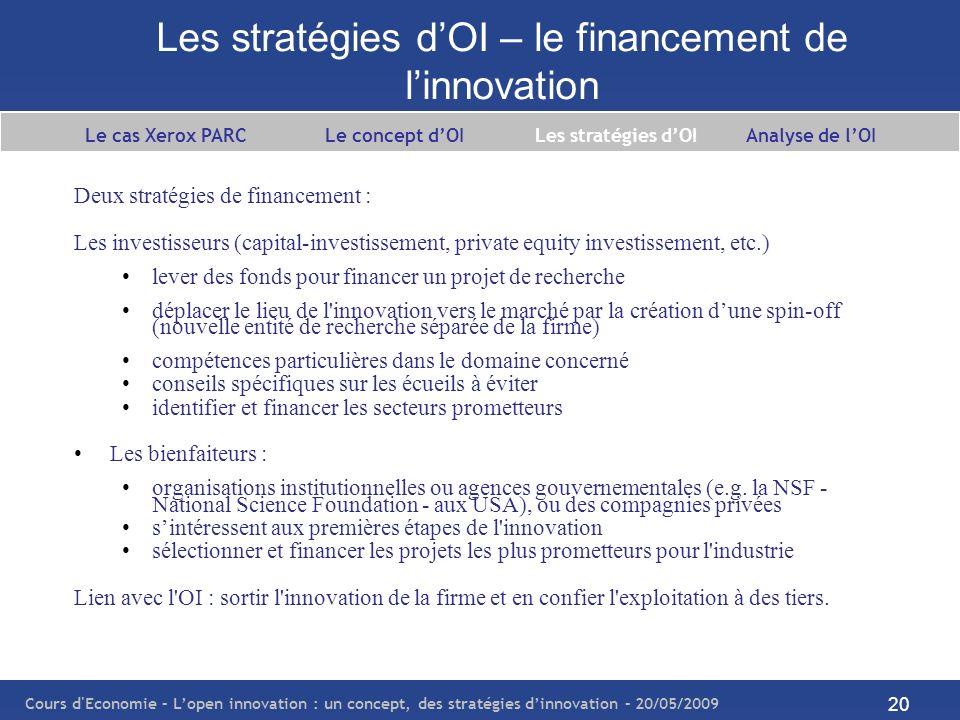Les stratégies d'OI – le financement de l'innovation