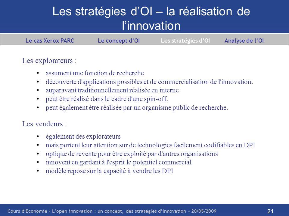 Les stratégies d'OI – la réalisation de l'innovation