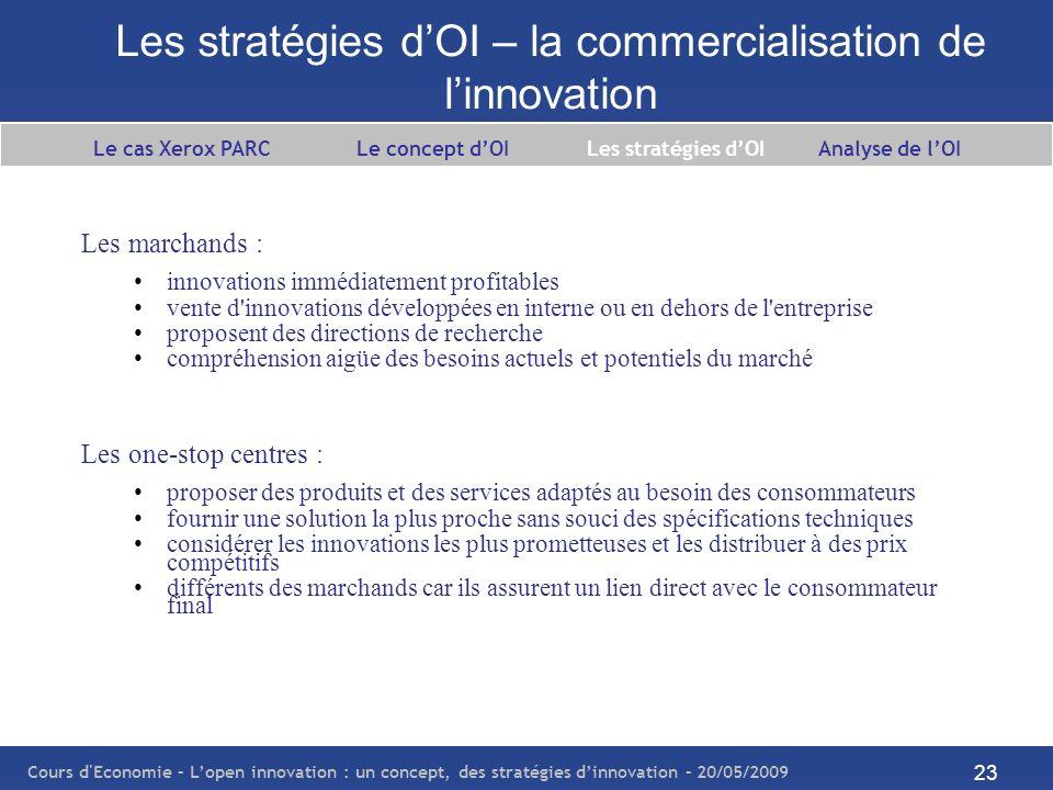 Les stratégies d'OI – la commercialisation de l'innovation