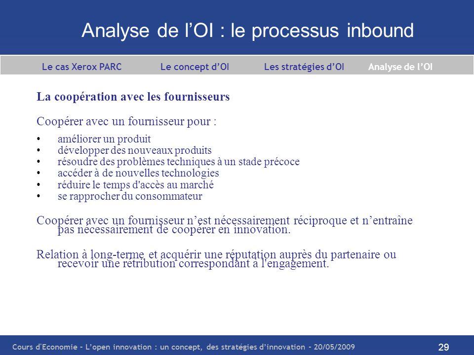 Analyse de l'OI : le processus inbound