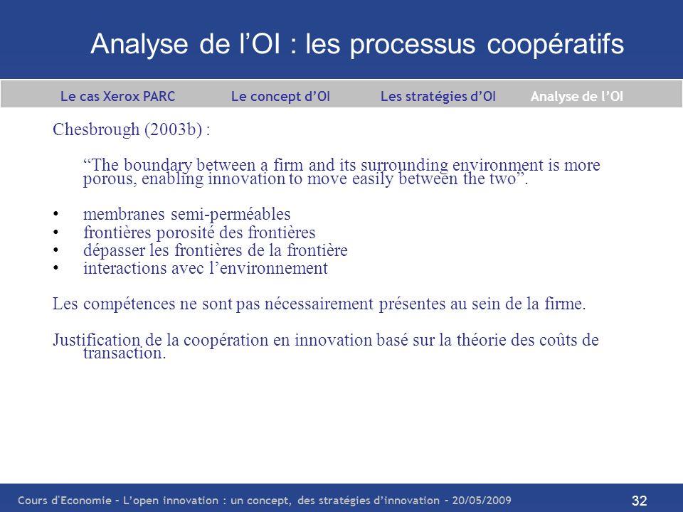 Analyse de l'OI : les processus coopératifs