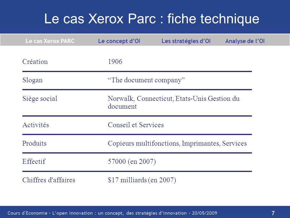 Le cas Xerox Parc : fiche technique