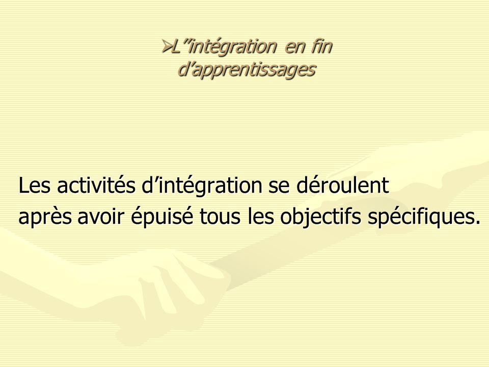 L''intégration en fin d'apprentissages