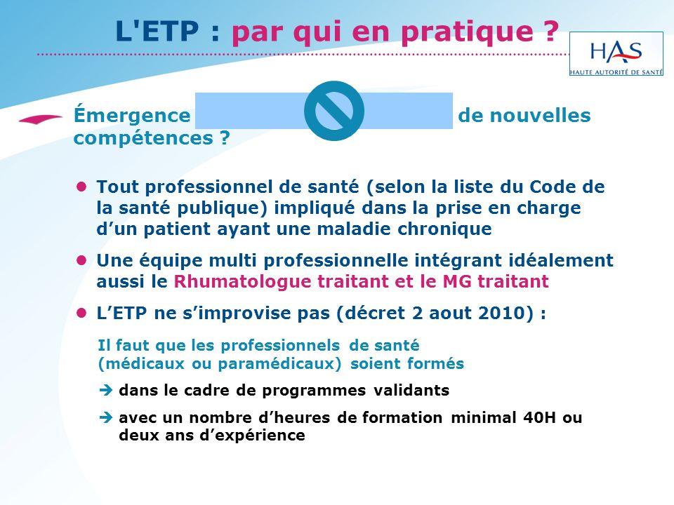 L ETP : par qui en pratique