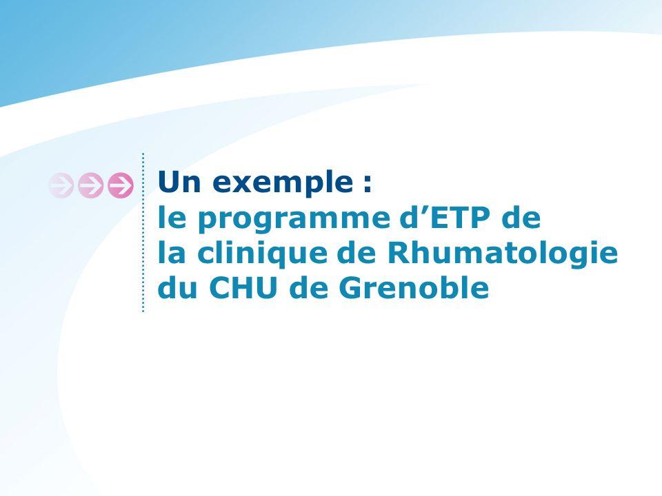 Un exemple : le programme d'ETP de la clinique de Rhumatologie du CHU de Grenoble