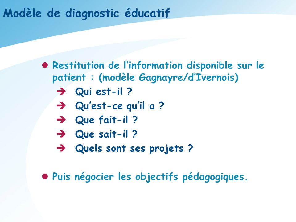Modèle de diagnostic éducatif