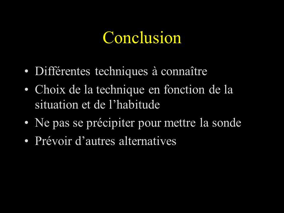 Conclusion Différentes techniques à connaître