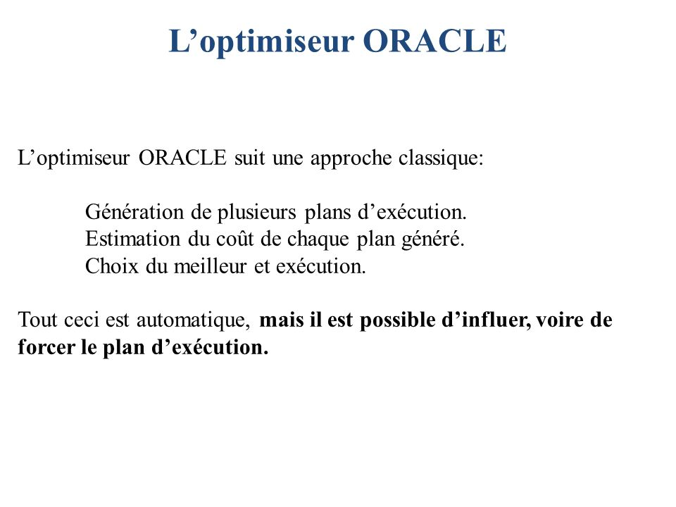 L'optimiseur ORACLE