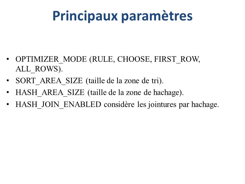 Principaux paramètres