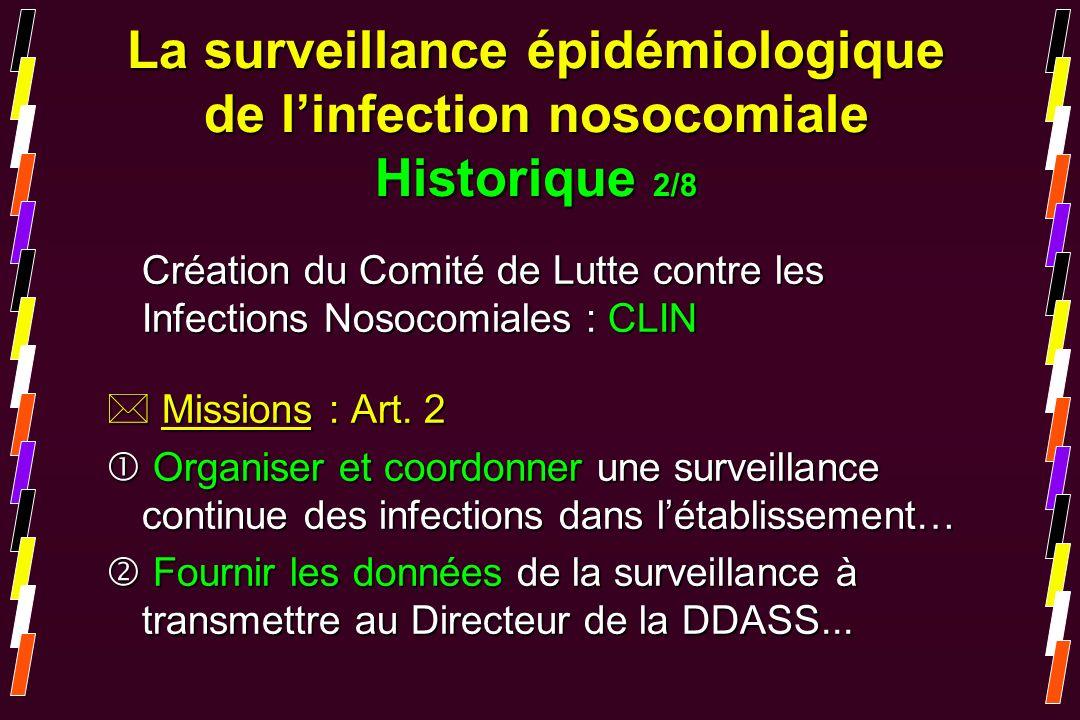 La surveillance épidémiologique de l'infection nosocomiale Historique 2/8