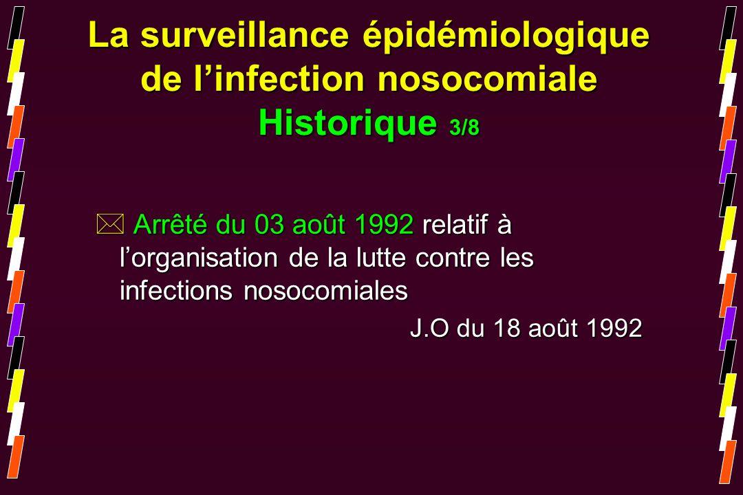 La surveillance épidémiologique de l'infection nosocomiale Historique 3/8