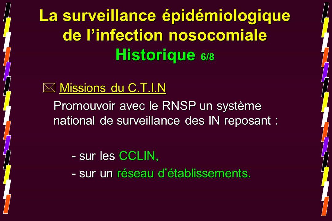 La surveillance épidémiologique de l'infection nosocomiale Historique 6/8