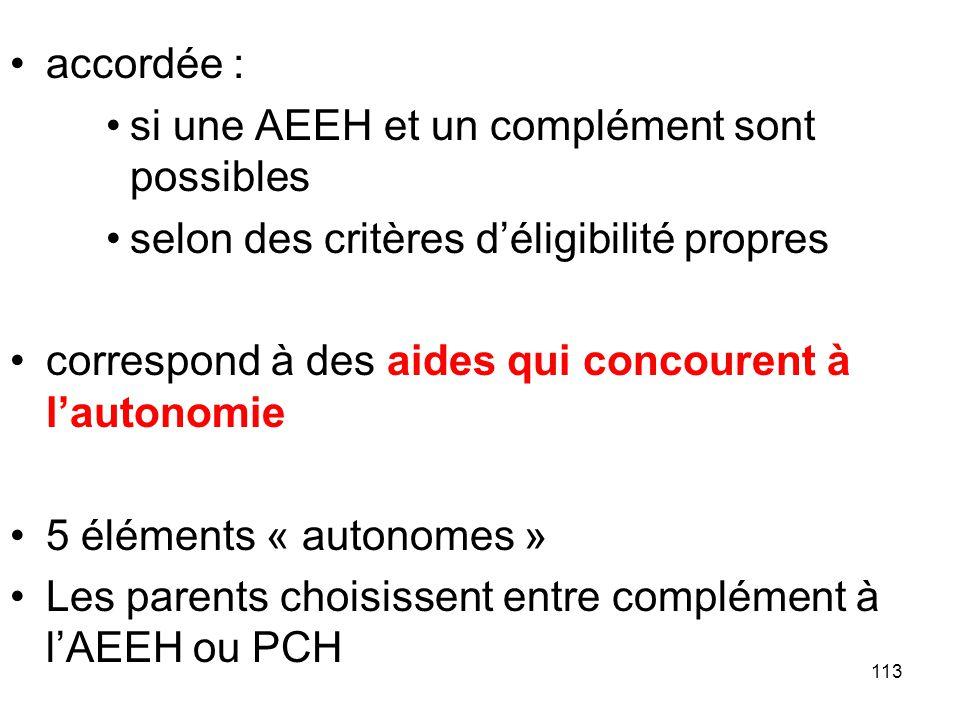 accordée : si une AEEH et un complément sont possibles. selon des critères d'éligibilité propres.