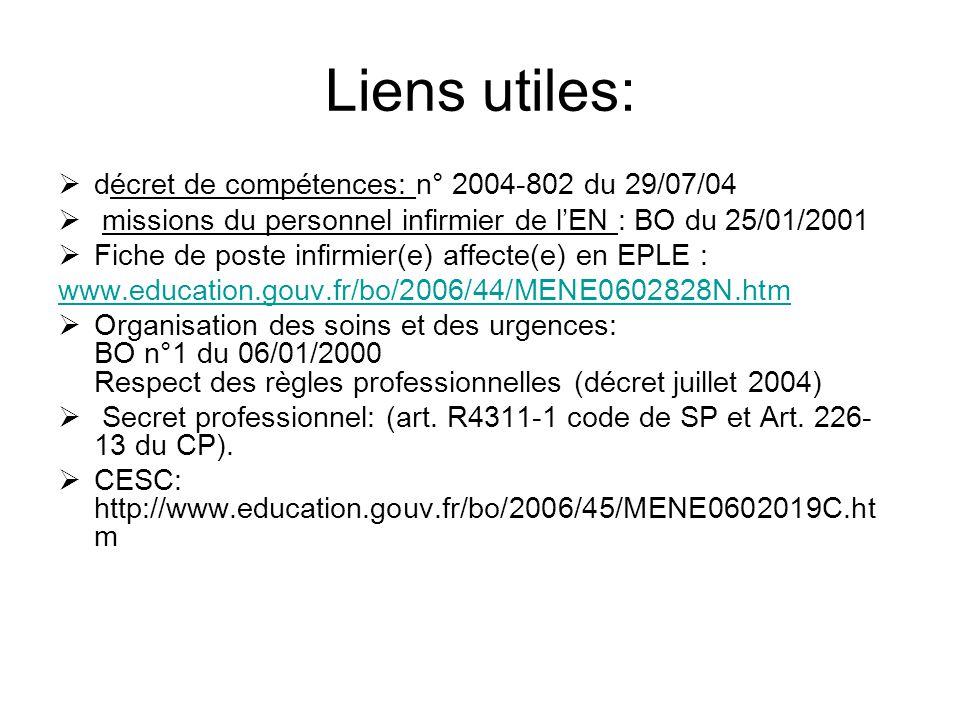Liens utiles: décret de compétences: n° 2004-802 du 29/07/04