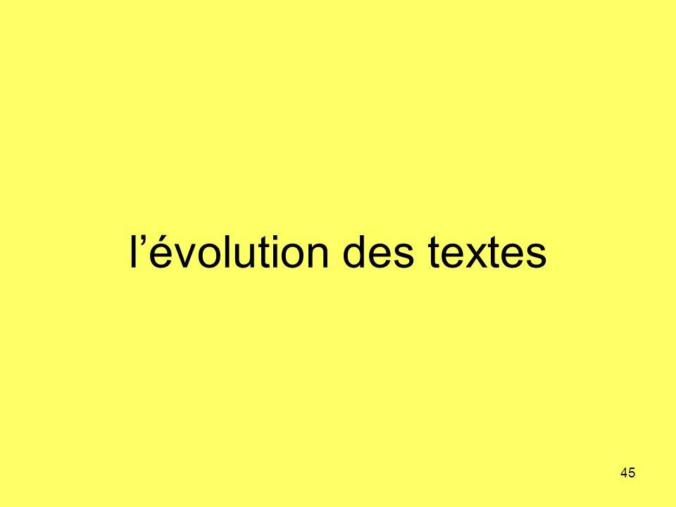 l'évolution des textes