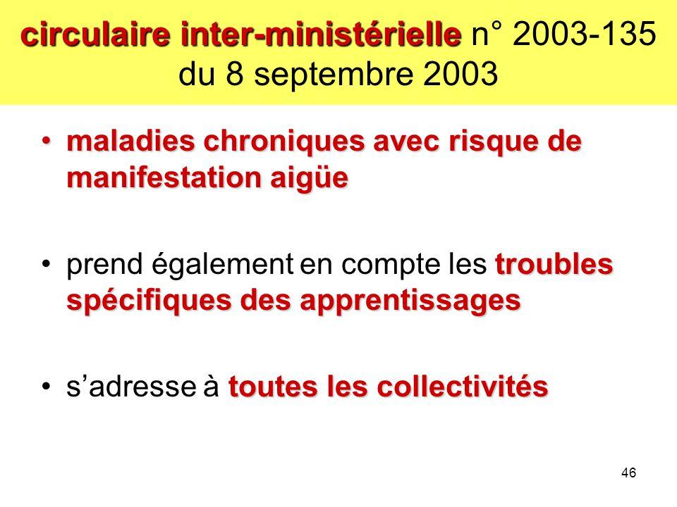 circulaire inter-ministérielle n° 2003-135 du 8 septembre 2003