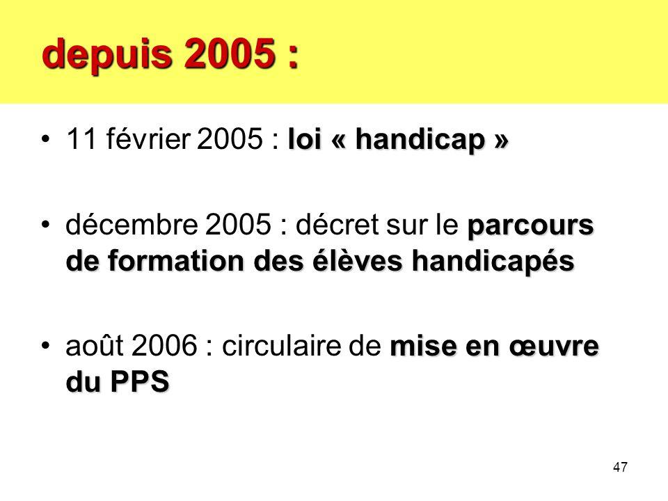 depuis 2005 : 11 février 2005 : loi « handicap »