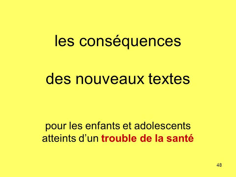 les conséquences des nouveaux textes pour les enfants et adolescents atteints d'un trouble de la santé