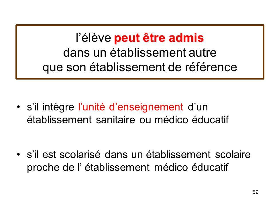 l'élève peut être admis dans un établissement autre que son établissement de référence
