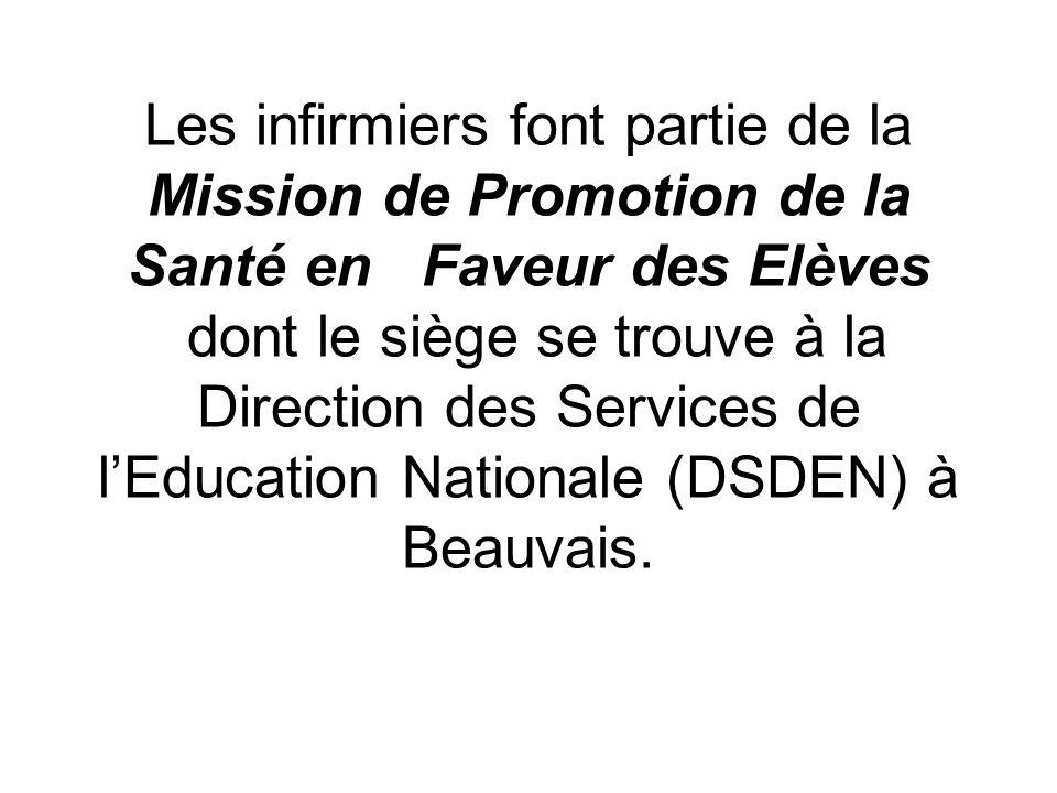 Les infirmiers font partie de la Mission de Promotion de la Santé en Faveur des Elèves dont le siège se trouve à la Direction des Services de l'Education Nationale (DSDEN) à Beauvais.