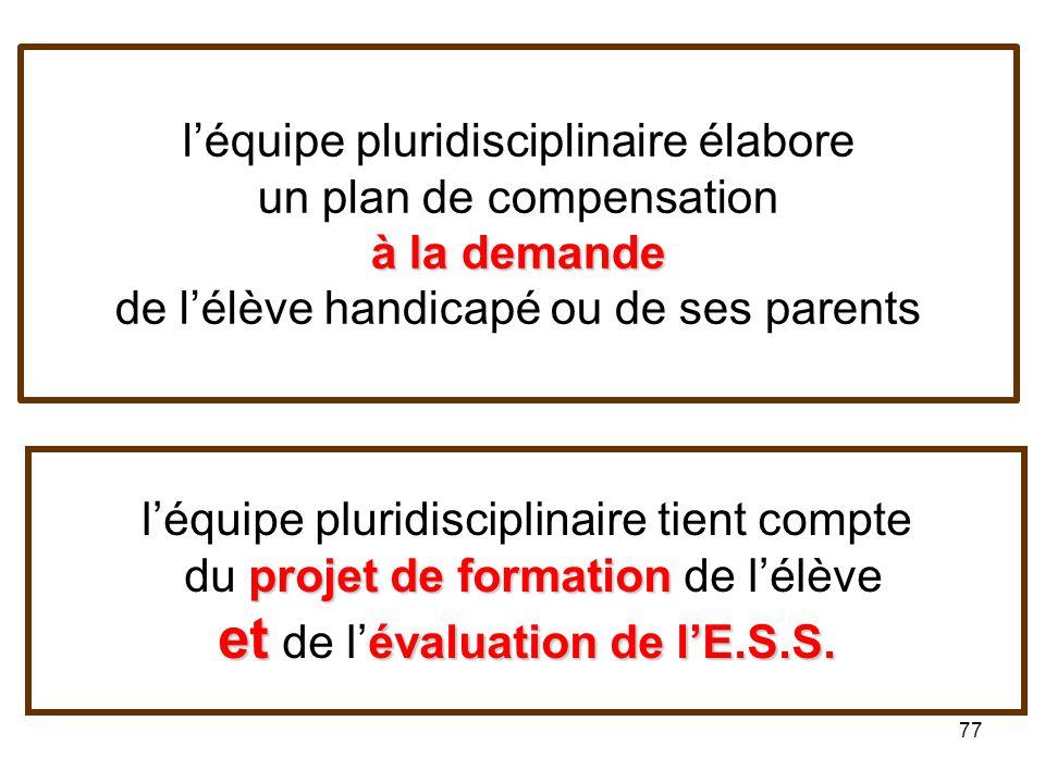 l'équipe pluridisciplinaire élabore un plan de compensation à la demande de l'élève handicapé ou de ses parents