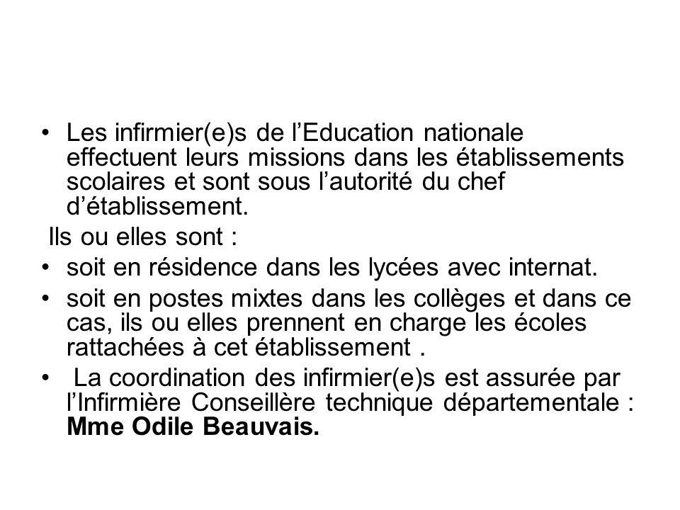Les infirmier(e)s de l'Education nationale effectuent leurs missions dans les établissements scolaires et sont sous l'autorité du chef d'établissement.