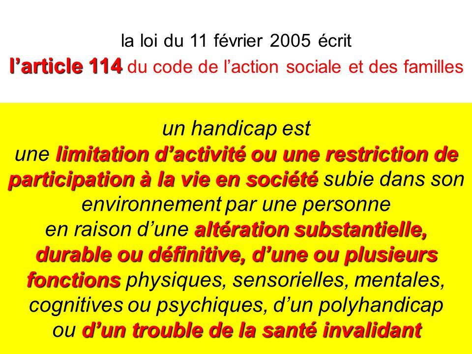 la loi du 11 février 2005 écrit l'article 114 du code de l'action sociale et des familles