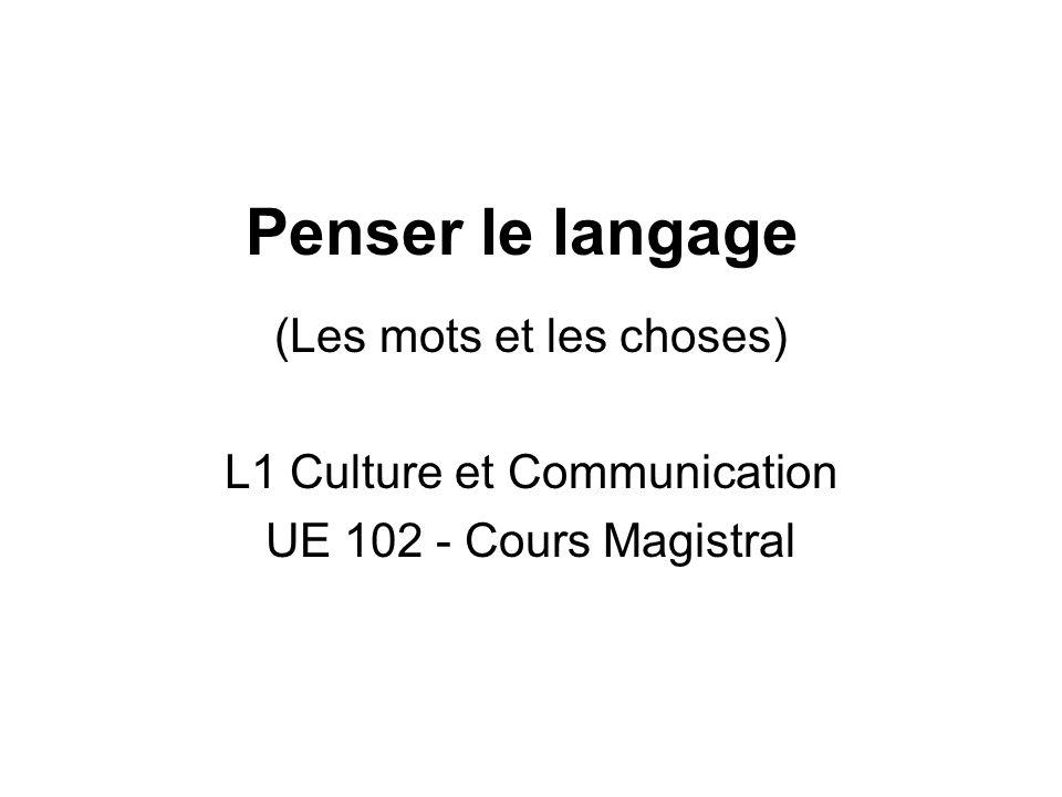 Penser le langage (Les mots et les choses) L1 Culture et Communication