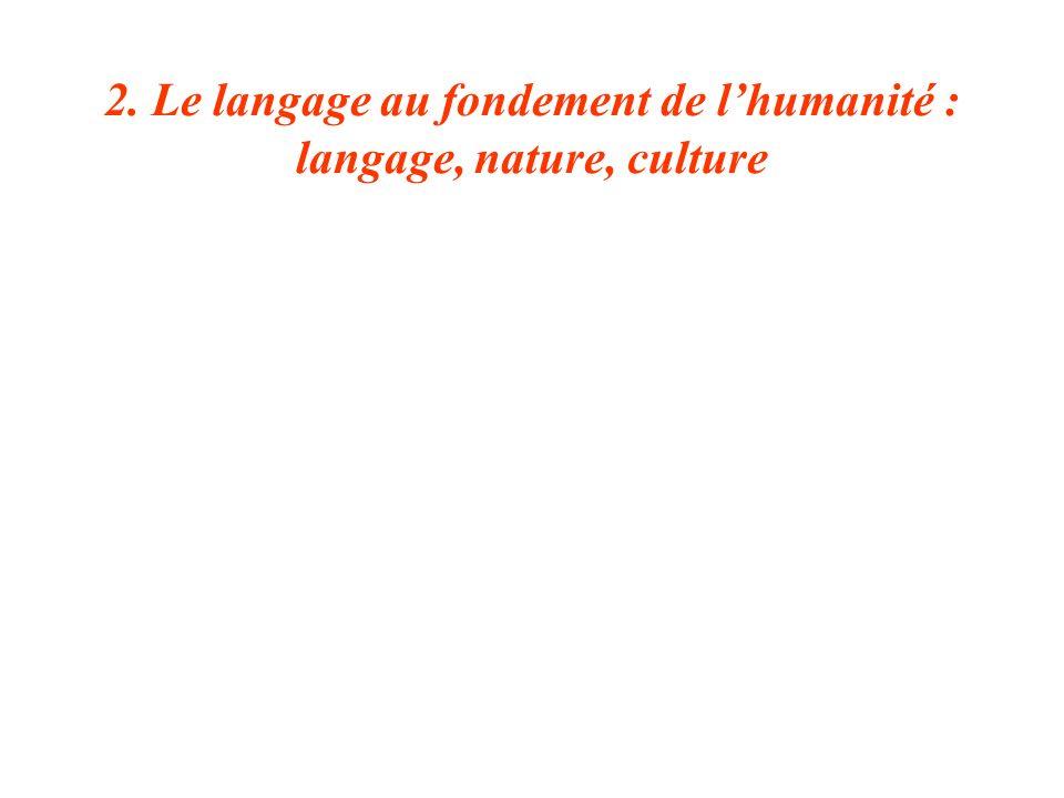 2. Le langage au fondement de l'humanité : langage, nature, culture