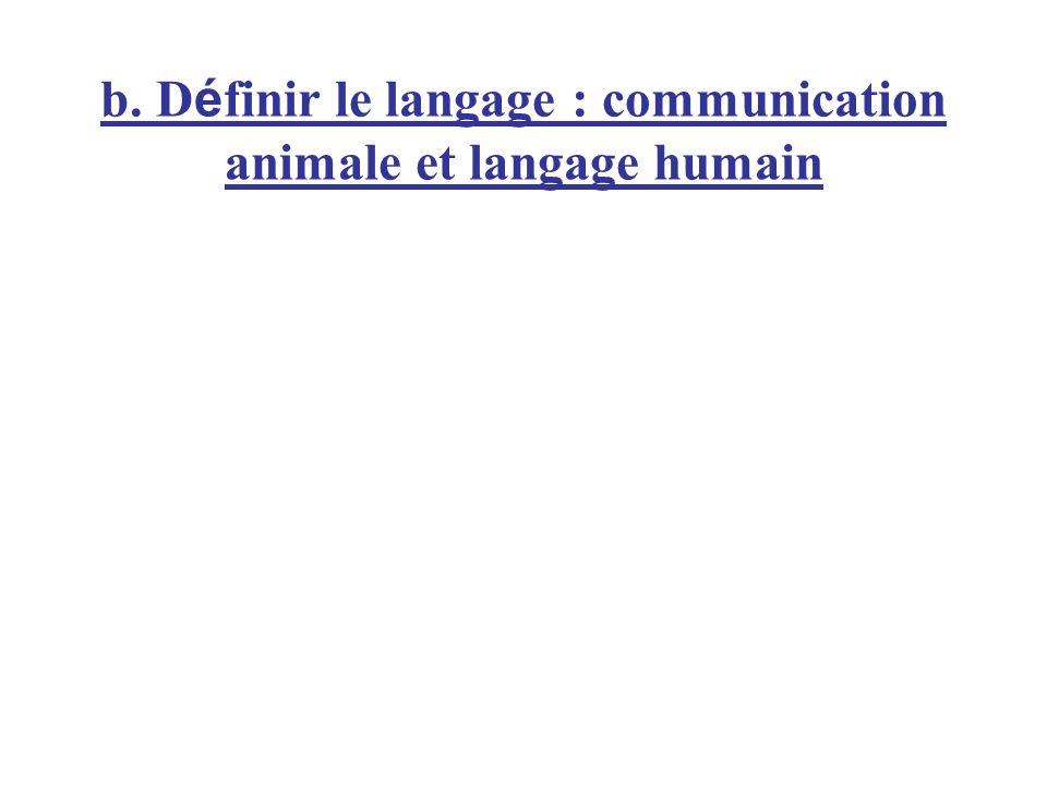 b. Définir le langage : communication animale et langage humain