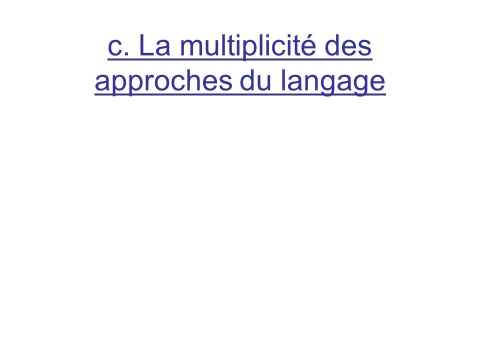 c. La multiplicité des approches du langage
