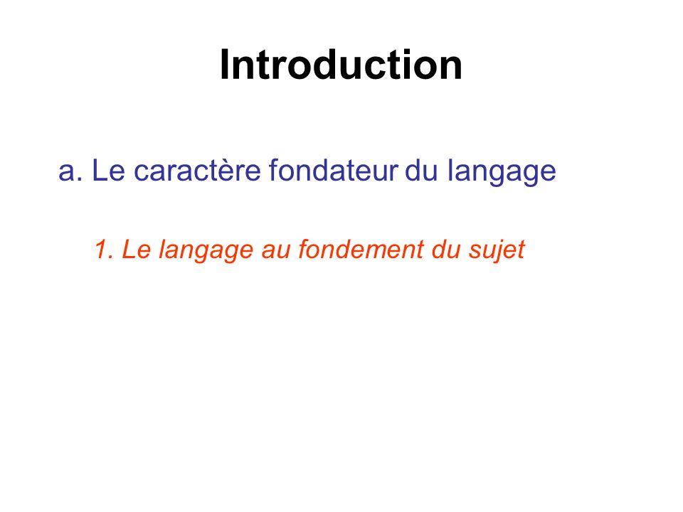 Introduction a. Le caractère fondateur du langage